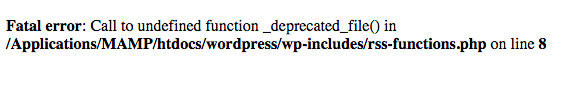 Exemplo da vulnerabilidade Full Path Disclosure através do arquivo rss-functions.php