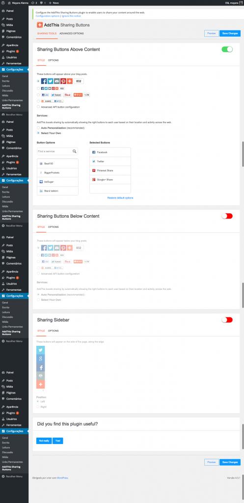 Tela de configuração do plugin AddThis Sharing Buttons botões de compartilhamento