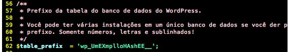 Prefixo da tabela de banco de dados do WP no arquivo wp-config.php