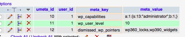 Prefixo antigo localizado na tabela de meta informações do usuário