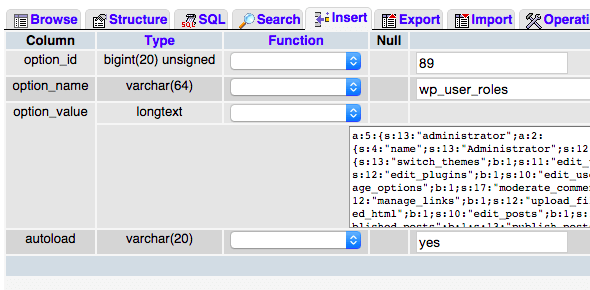 Interface de edição de linha daetabela no phpMy admin