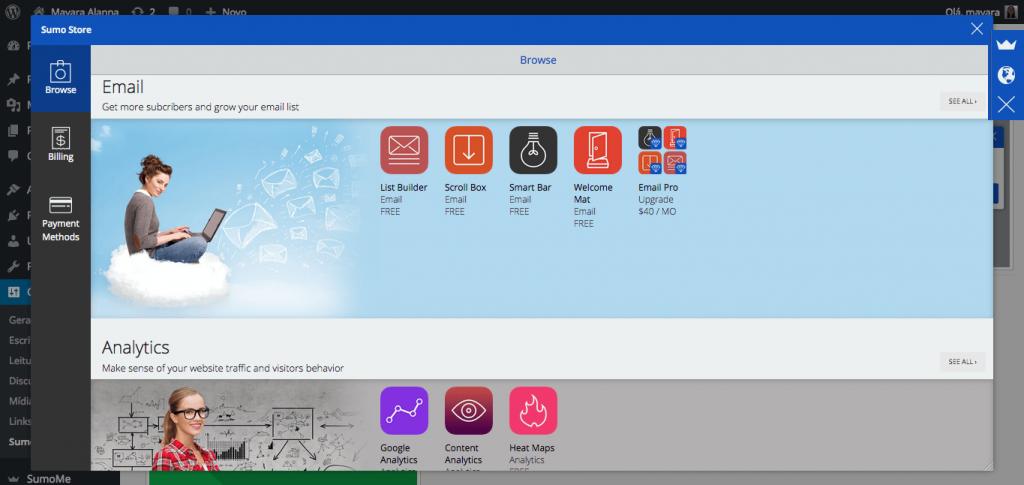 SumoMe Store botões de compartilhamento