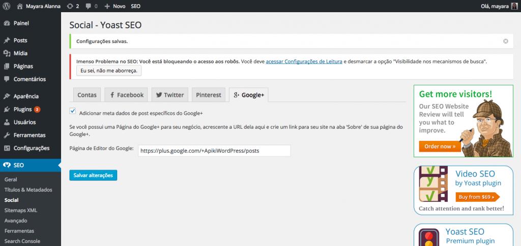 Configurações para o Google+ pelo plugin Yoast SEO botões de compartilhamento