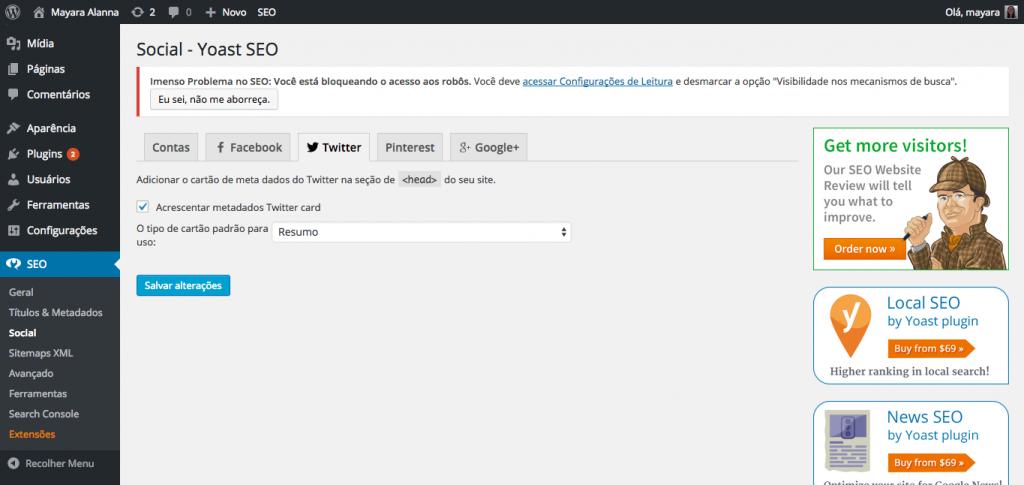 Configurando os Twitter Cards pelo plugin Yoast SEO botões de compartilhamento