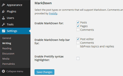 wp-markdown-settings