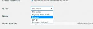 Lista de idiomas pré-instalados
