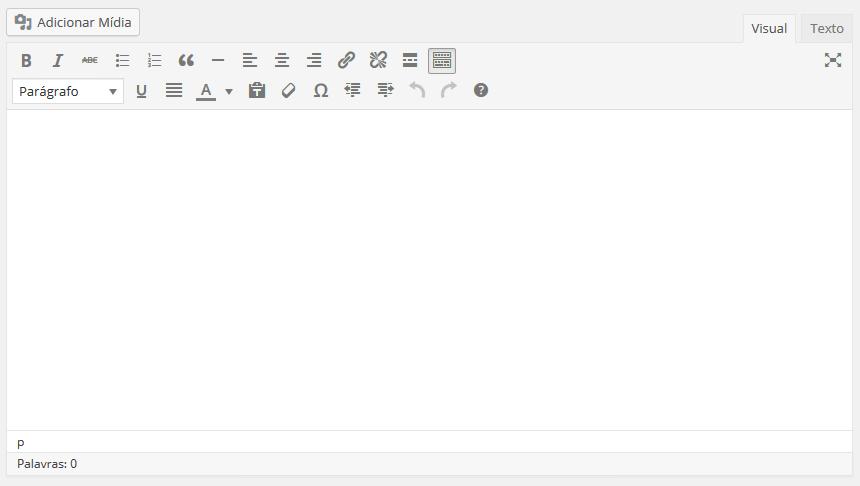 Editor de texto presente no WordPress 4.6