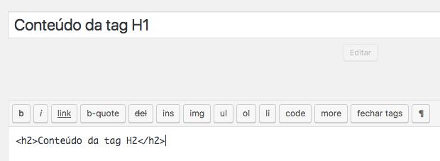 H1 no WordPress: código no tema e H2 no editor.