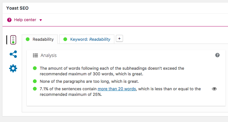 Imagem da aba Readability no plugin WordPress Yoast SEO