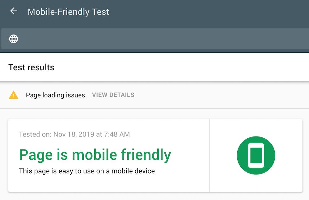 Exemplo de retorno de validação da ferramenta Mobile-Friendly Test