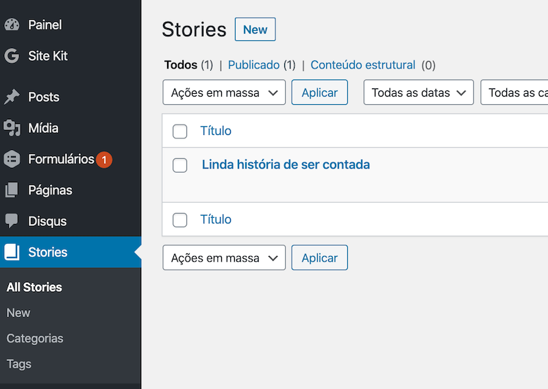 Tela administrativa do WordPress com a demonstração do tipo de post personalizado Stories