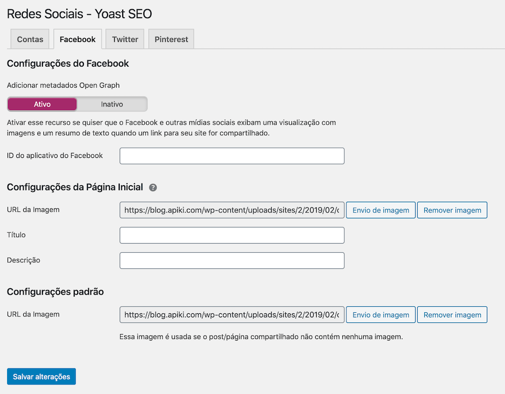 Interface de configuração global do protocolo Open Graph no plugin WordPress Yoast SEO