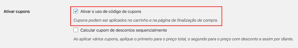 Exemplo de configuração de Cupons do WooCommerce