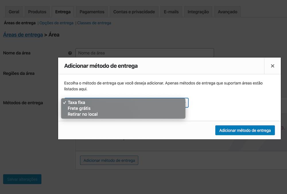 Interface de configurações dos métodos de entrega na opção de Entrega no checkout do WooCommerce