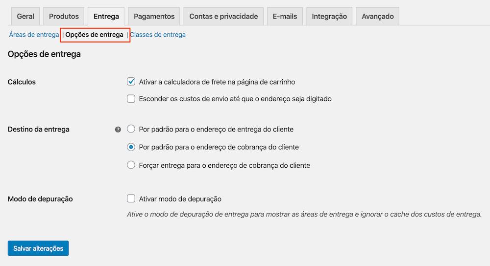 Interface das Opções de entrega na configuração do checkout do WooCommerce