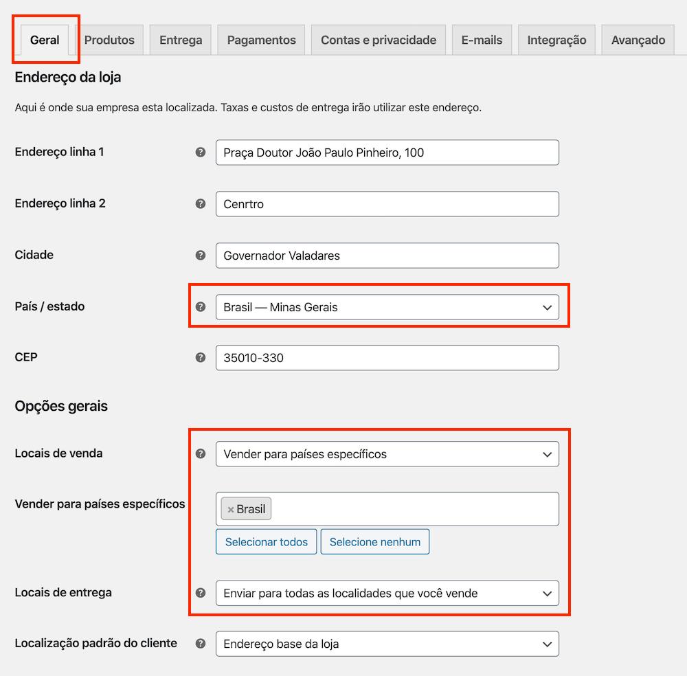 Exemplo de configuração de Endereço e Opções gerais do WooCommerce