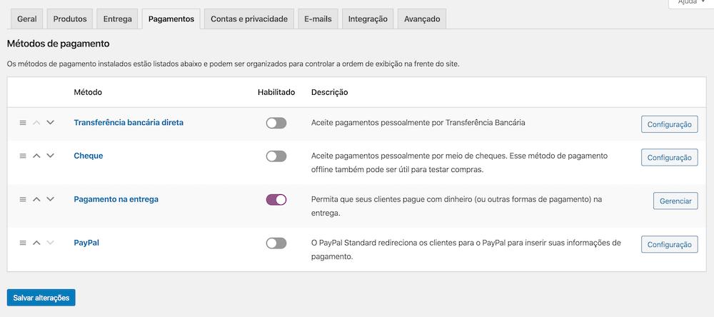 Interface padrão de configuração de Pagamentos do WooCommerce