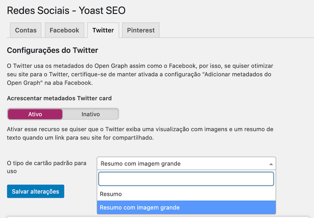 Exemplo da interface de configuração do Twitter Card através do plugin Yoast SEO