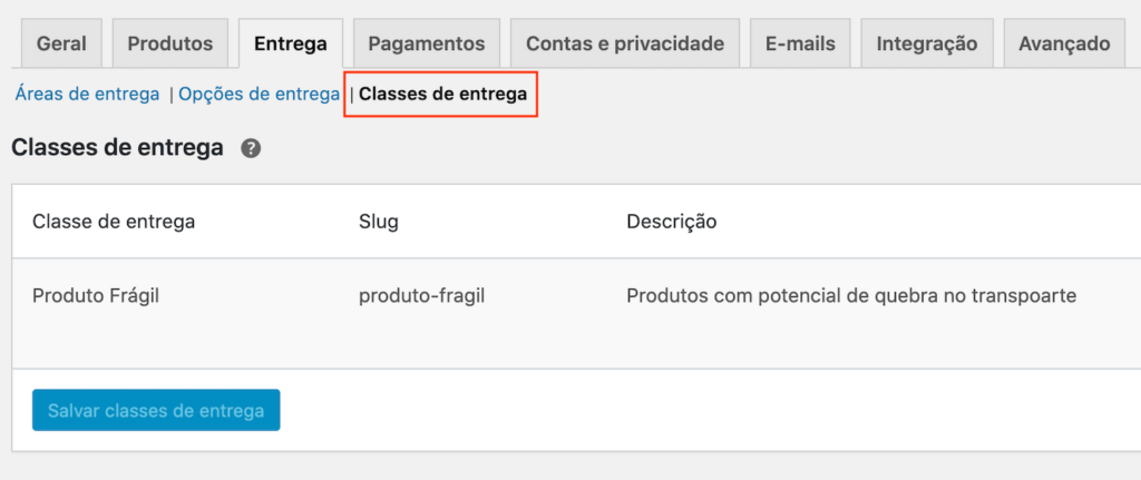 "Interface de ""Classes de entrega"" do WooCommerce"