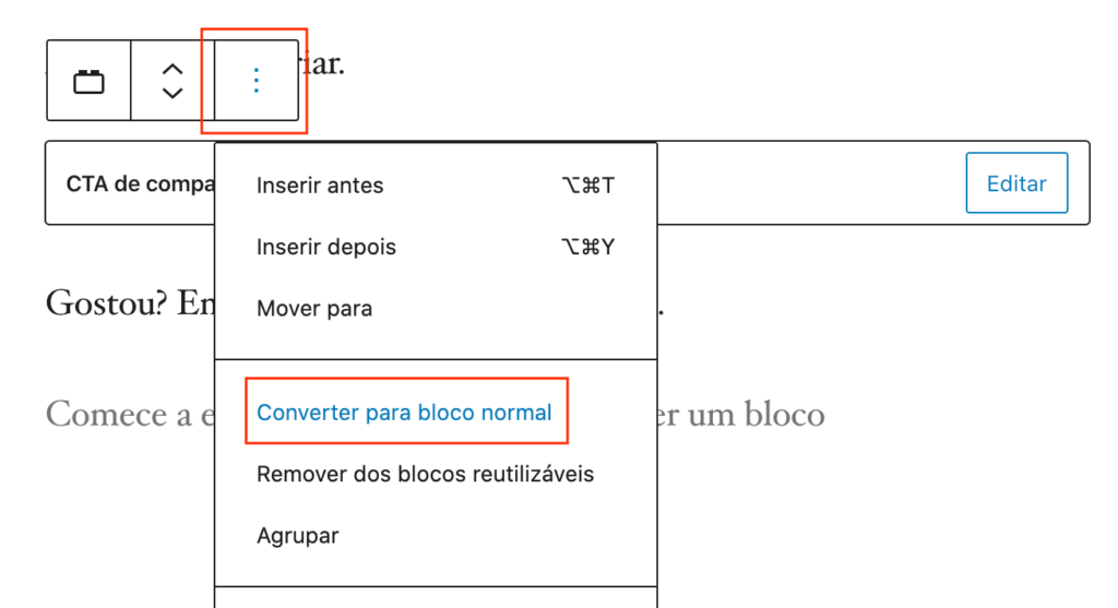 Exemplo do comando para converter um bloco para o estado padrão
