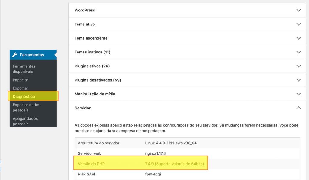 Interface da Ferramenta Diagnóstico do WordPress exibindo a versão do PHP em uso.
